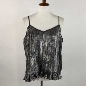 Anthropologie Gray & Silver Sequin Tank Top
